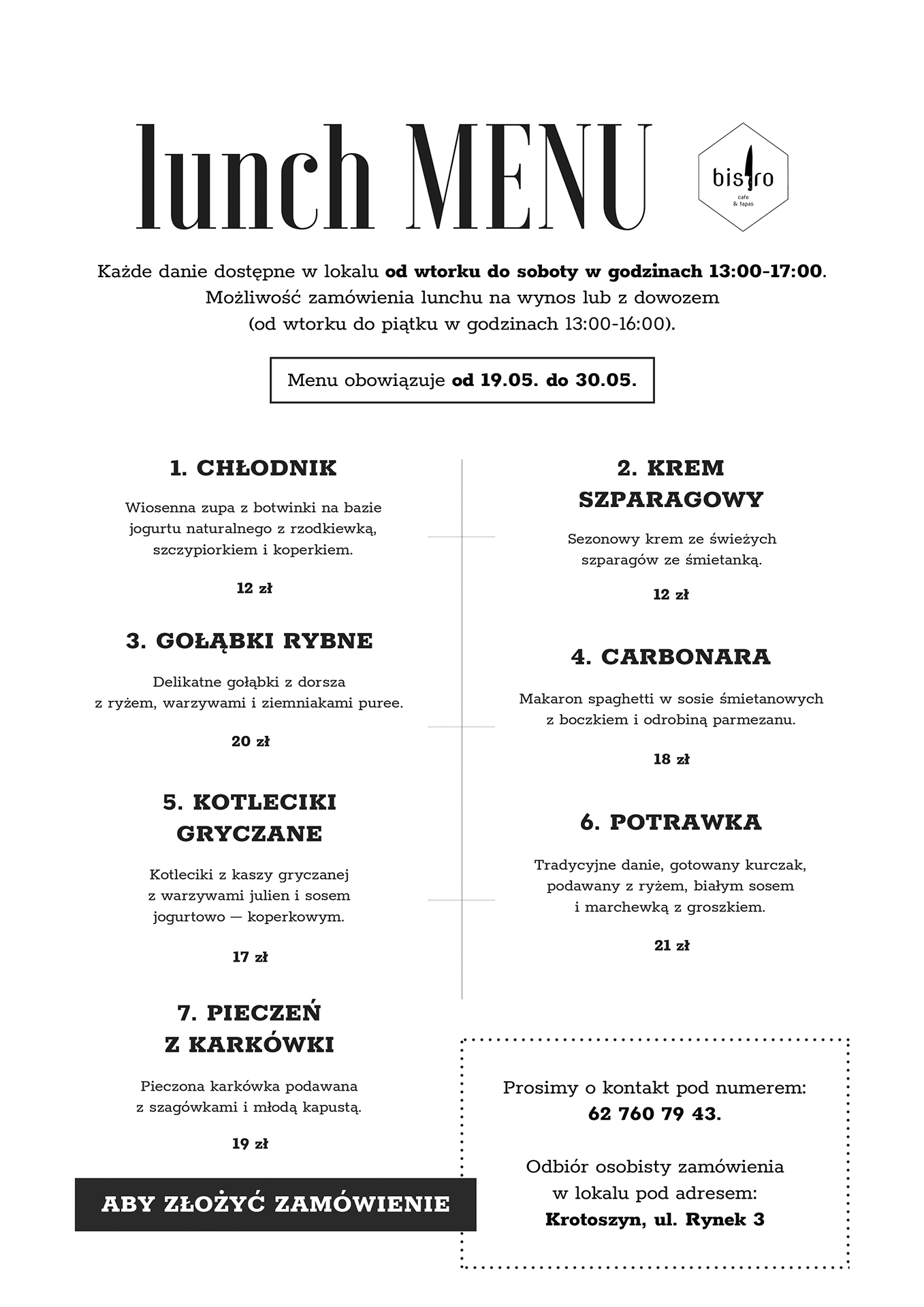 lunch menu bistro cafe&tapas